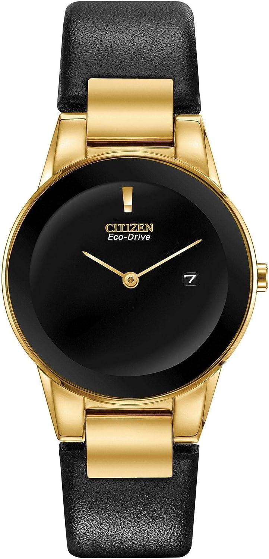 Citizen Eco-Drive Axiom Reloj de correa de cuero negro de tono dorado GA1052-04E