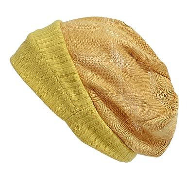 8e0e3cbbc5e2a Casualbox Mujer Gorrita Sombrero Boina Tejido Sombrero Flojo Respirable  Verano Mostaza  Amazon.es  Ropa y accesorios