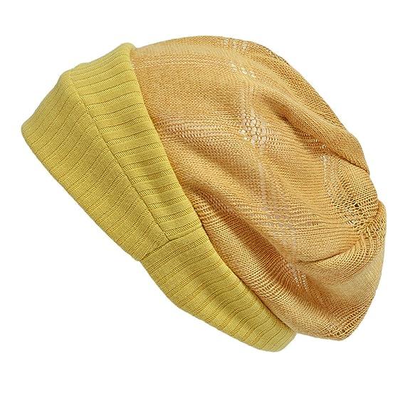 7dbd5523b6a Casualbox Femmes Bonnet Chapeau Béret Tricoter Chapeau Respirant Été  Moutarde