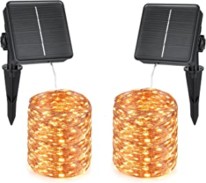SZWISEKO Solar Fairy Lights, 200 LED Solar Garden Lights with 8 Modes Outdoor Waterproof Decorative for Christmas, Garden, Yard, Party, Camping, Patio (66Ft, 2 Packs )