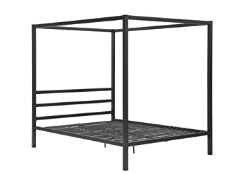 dhp modern metal framed industrial canopy bed frame queen grey