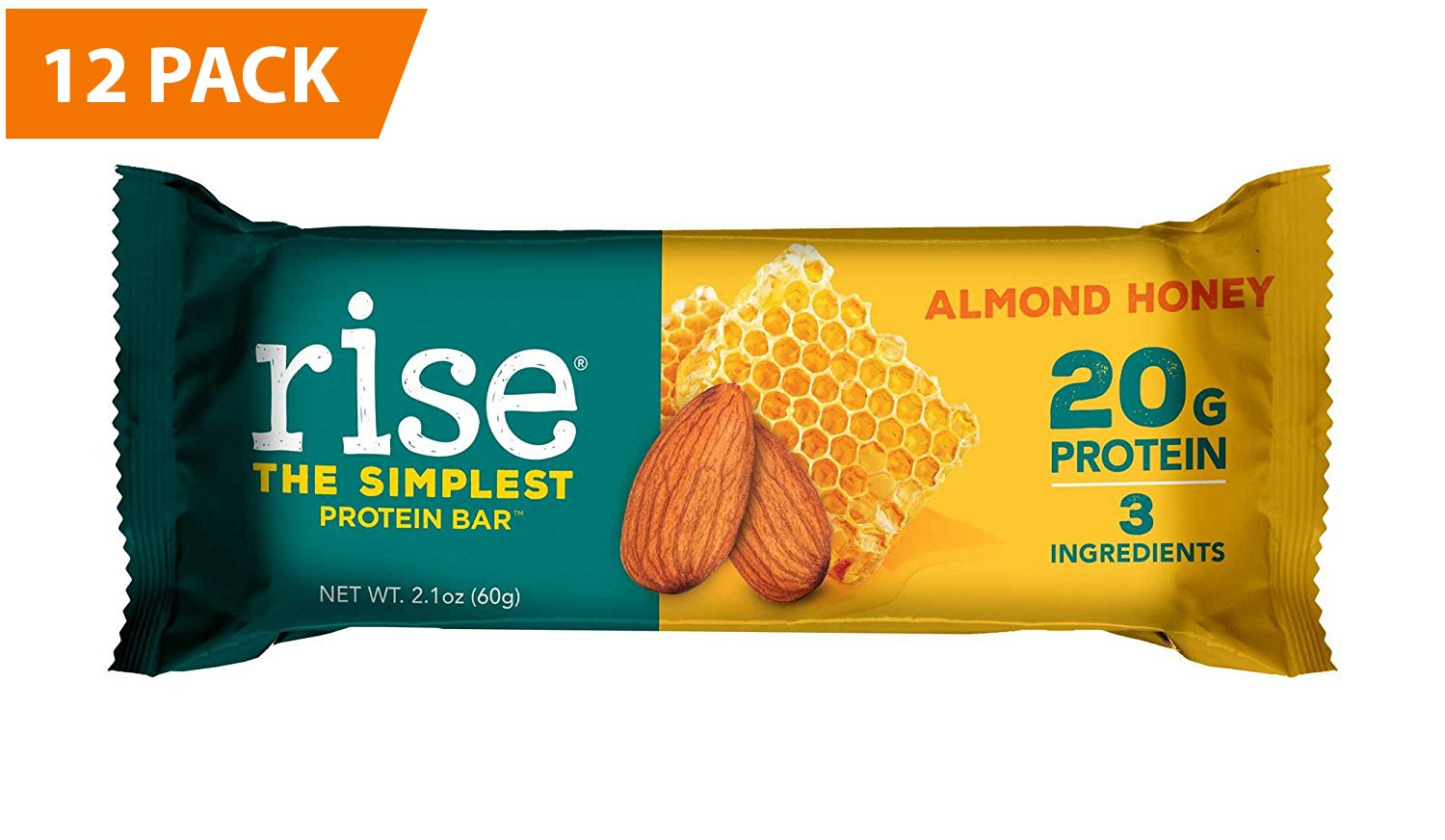 RiseBar Non-GMO, Gluten Free, Soy Free, Real Whole Food, Whey Protein Bar (20g), No Added Sugar, Almond Honey High Protein Bar with Fiber, Potassium, Natural Vitamins & Nutrients 2.1oz, (12 Count)