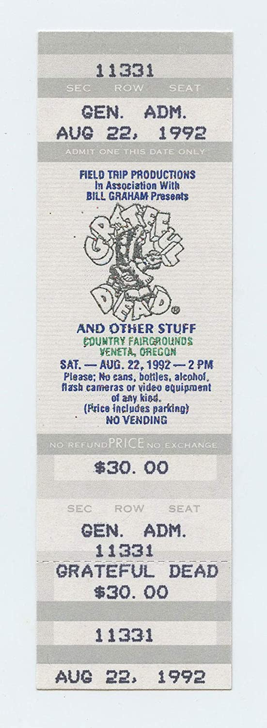 Grateful Dead 1992 Aug 22 County Fairgrounds Veneta Unused Ticket