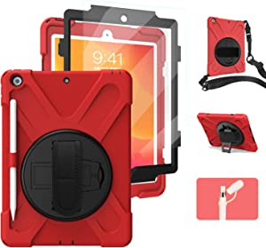 iPad 10.2 2019/2020 Case with Handle & Built-in Screen Protector | TSQ Rugged Protective iPad 7th/8th Generation Case with Pencil Holder | Heavy Duty Defender Hard Cover with Stand/Hand Strap | Red.