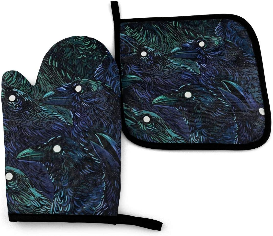 Newlt Raven Oven Mitts and Pot Holders Sets Kitchen Heat Resistant Oven Gloves for BBQ Cooking Baking Grilling (2-Piece Sets)