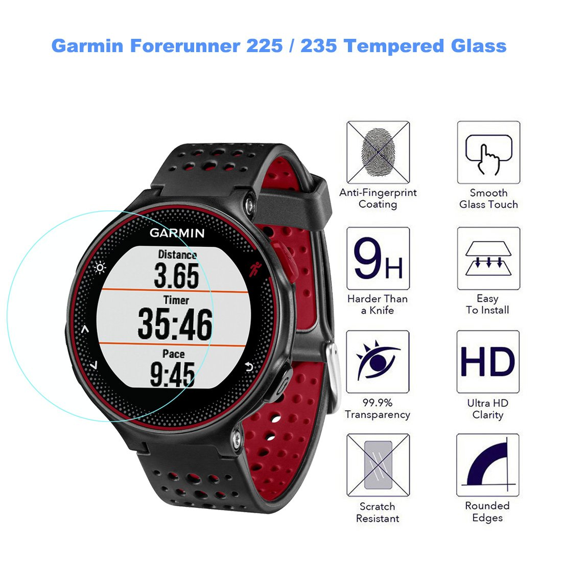 9H Hardness Rerii Tempered Glass Screen Protector for Garmin Forerunner 235 225 Garmin Forerunner 235 225 Screen Protector High Definition 0.3mm Thickness Real Glass Screen Protector