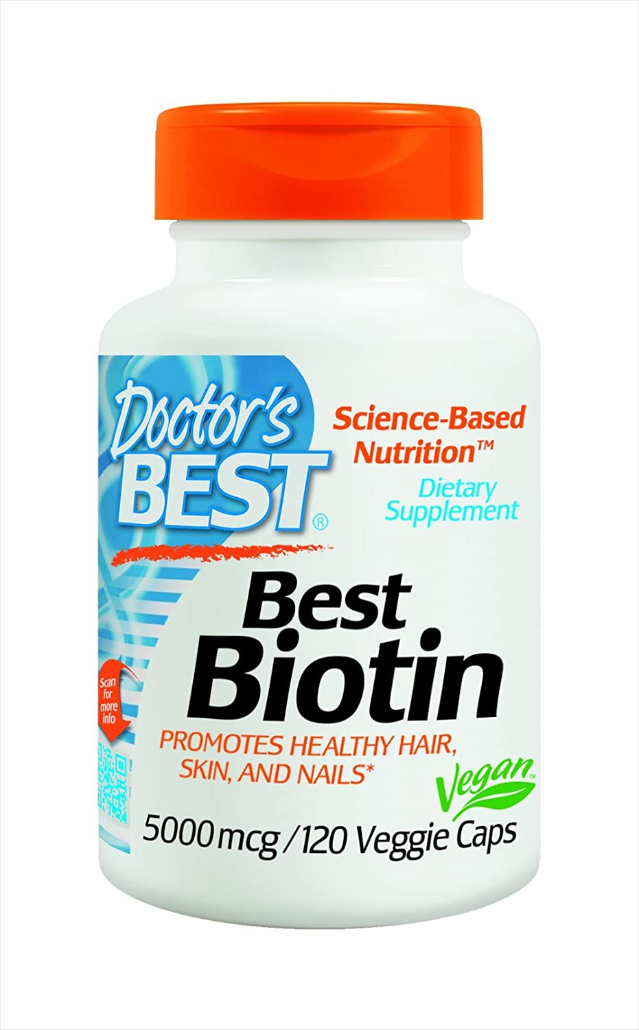 Doctor's Best Biotin, Supports Hair, Skin, Nails, 5000 mcg, 120 Veggie Caps