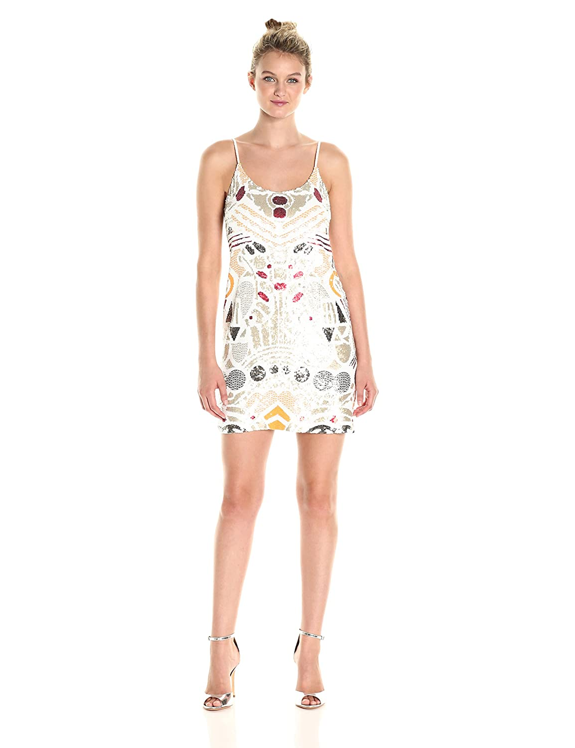 Camber Sand Multi French Connection Womens Adanya Shine Dress Dress