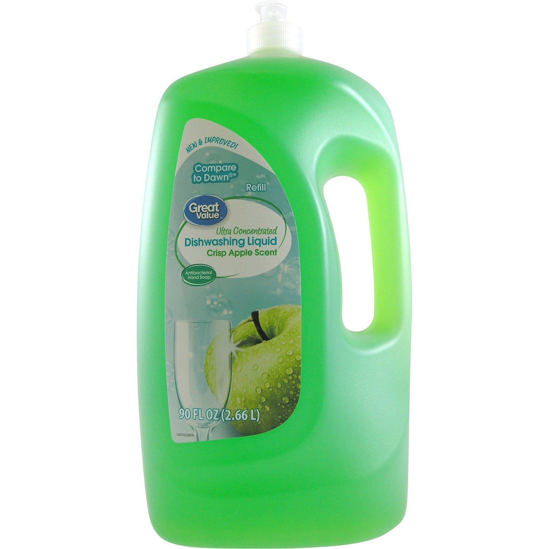Great Value Ultra Concentrated Crisp Apple Scent Dishwashing Liquid, 90 Oz (1)