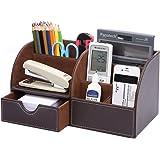 KINGFOM™ 7 scomparti Multifunzionale Portaoggetti da scrivania in Pelle PU (Marrone)