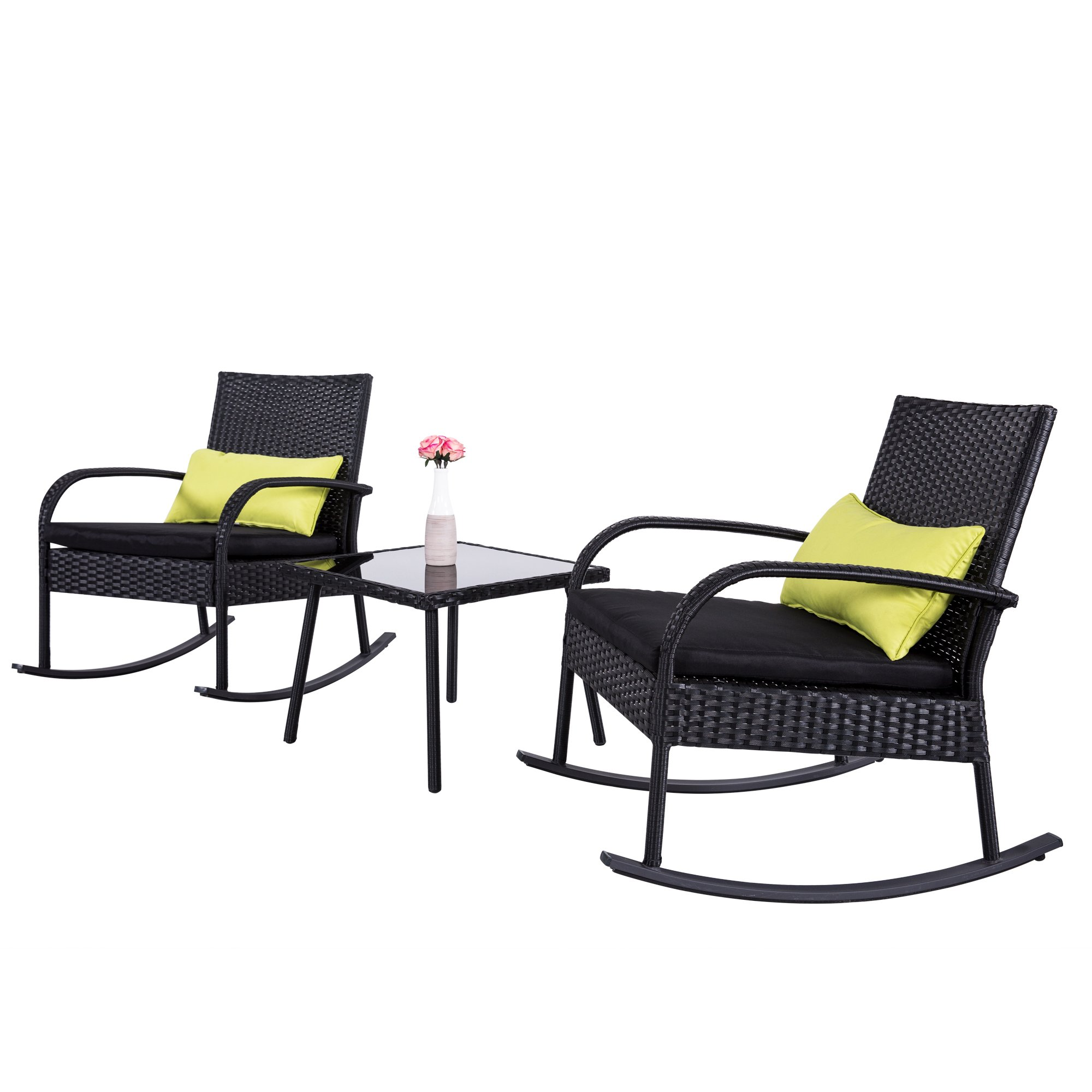 Cloud Mountain Outdoor 3 Piece Rocking Chair Bistro Set Rattan Wicker Patio Set Furniture - Two Chairs with Glass Coffee Table, Black Cushion with Black Rattan