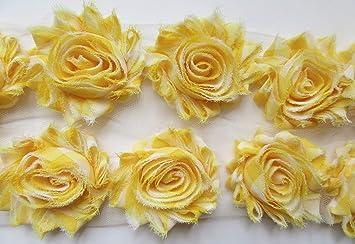 "1//2 yard yellow 2.5/"" shabby chiffon rose trim fabric flowers DIY baby headband"