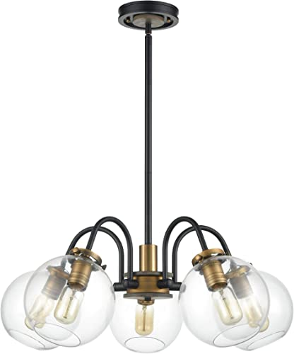 WILDSOUL 10025BK 5-Light Farmhouse Clear Globe Glass Shaded Chandelier, 5 Arms Mid Century Foyer Dining Room Industrial Edison Semi Flush Lights Rustic Wood, Matte Black and Brass Finish, 27 Diam