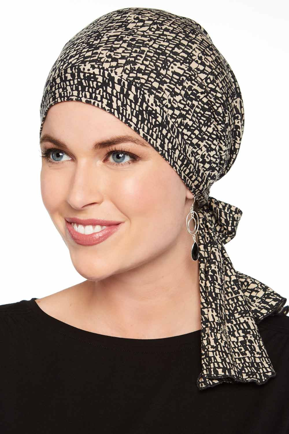 Cardani So Simple Scarf - Pre Tied Head Scarf for Women in Soft Bamboo - Cancer & Chemo Patients Luxury Bamboo - Mini Mosaic Black/Beige