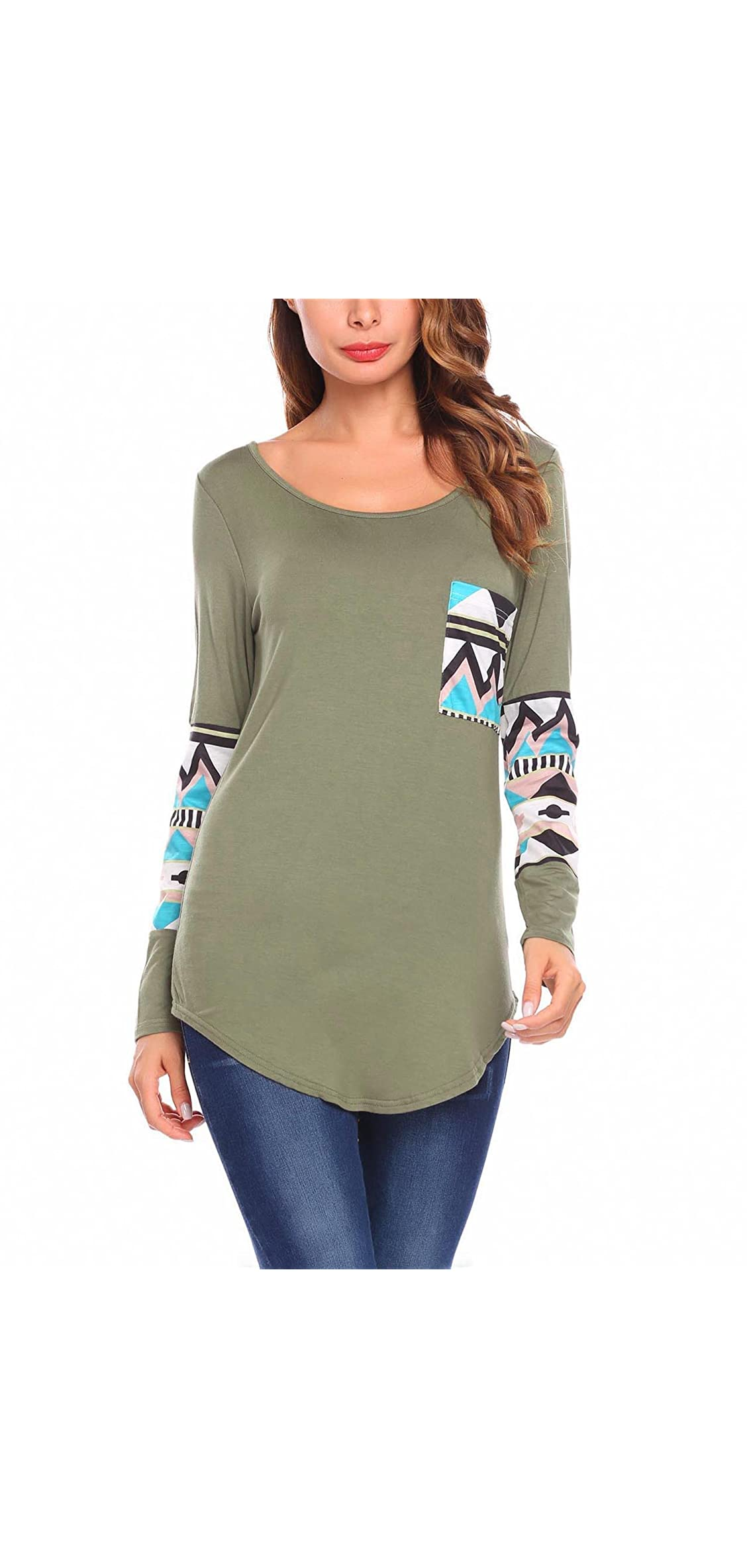 Women's Long Sleeve Graphic Print Patchwork Casual