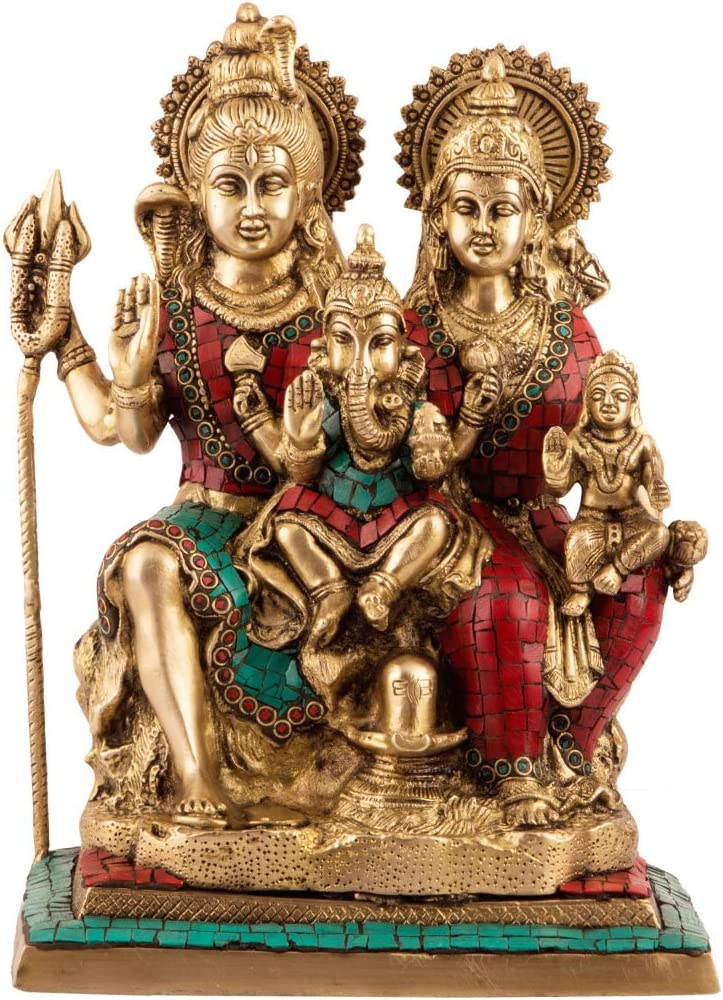 CraftVatika Hindu God Lord Shiva Family Brass Statue with Inlay Work, 12.5 inch Height