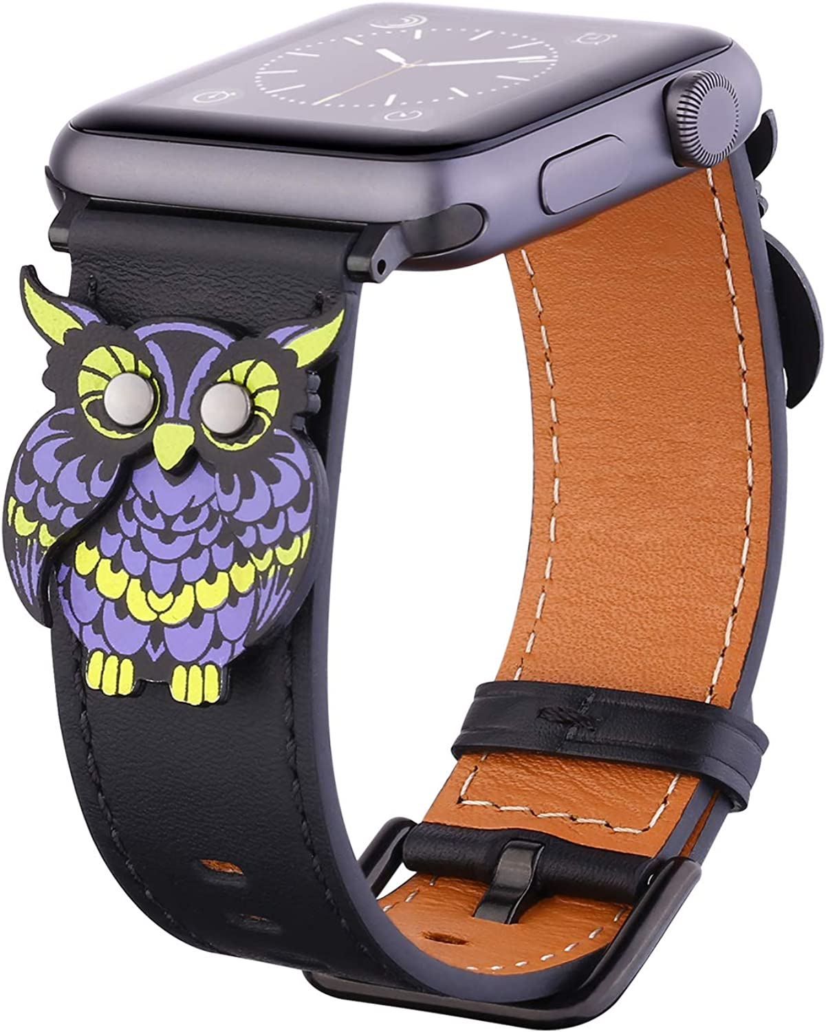 Handmade Owl Leather Watch Band Compatible with Apple Watch 38mm 40mm Design Watchband for iwatch Series 4/3/2/1 Replacement Strap Wristband for Women Men