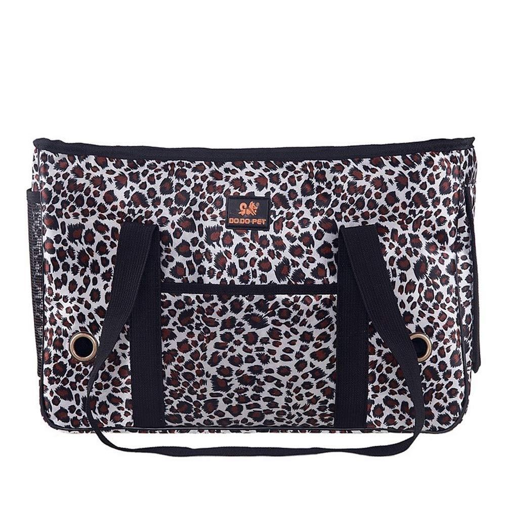 Leopard 451830cm Leopard 451830cm HEJUNF CA Fashion Leopard cat and Dog pet Out Bag Portable pet Bag (color   Leopard, Size   45  18  30cm)