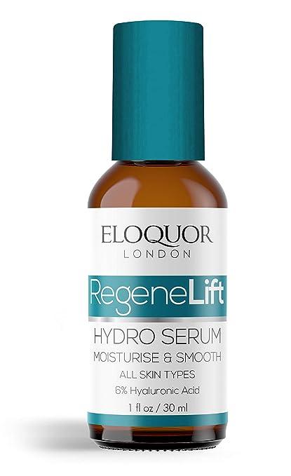 Eloquor RegeneLift Hidro Suero | Hidratante facial antienvejecimiento con ácido hialurónico, aceite de jojoba y