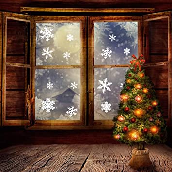Amazoncom PCS Snowflakes Window Clings White Christmas - Snowflake window stickers amazon