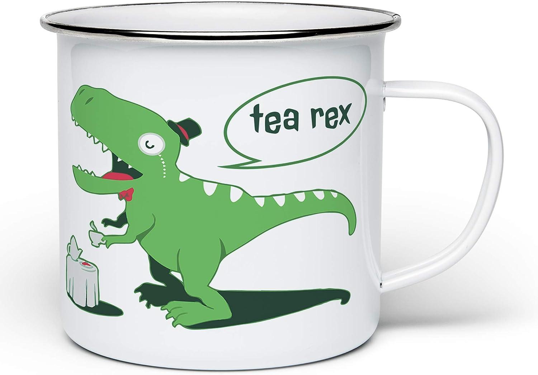 Enamel monocled Tea Rex Mug, White