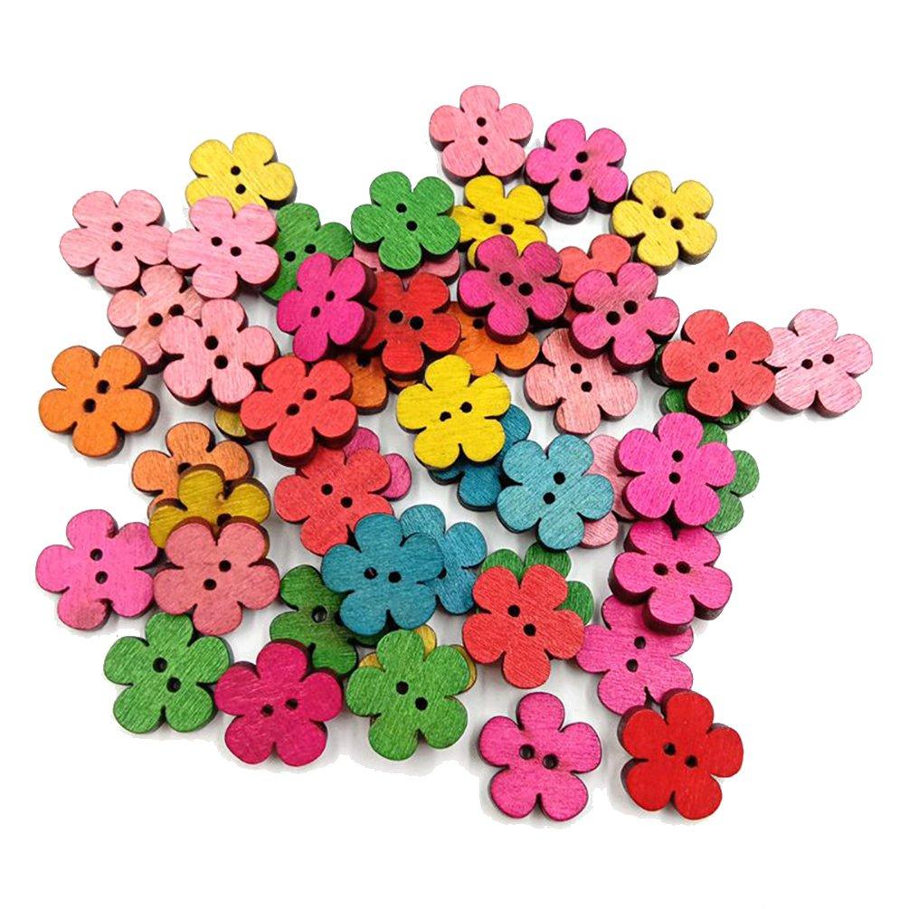 Profusion Circle 50pcs Flower Wooden Buttons 4 Holes DIY Sewing Craft Scrapbook (# 10) Profushion Circle