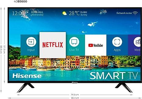 Hisense H40BE5500, Smart TV Full HD, 2 HDMI, 2 USB, Salida Óptica y de Auriculares, WiFi, Procesador Quad Core, Smart TV VIDAA U 2.5, Ethernet, color negro: Amazon.es: Electrónica