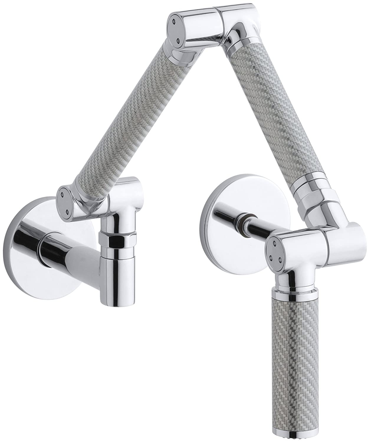 KOHLER K-6228-C11-CP Karbon Wall-Mount Kitchen Faucet with Silver ...