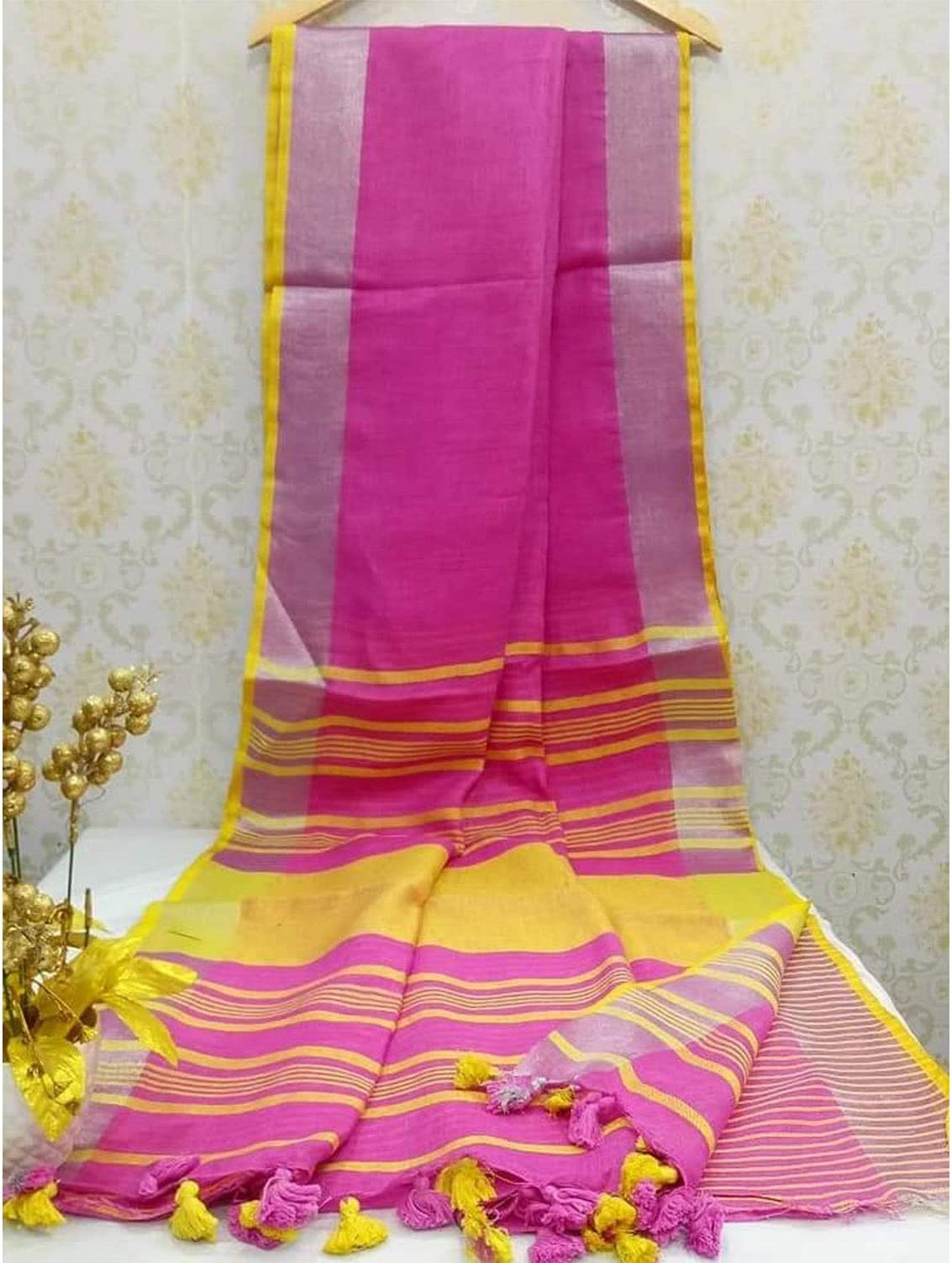 Ethnic Indian Womens Bhagalpuri Handloom Cotton Linen Saree with Pink Yellow Border with Beautifully Decorate Soft tussels