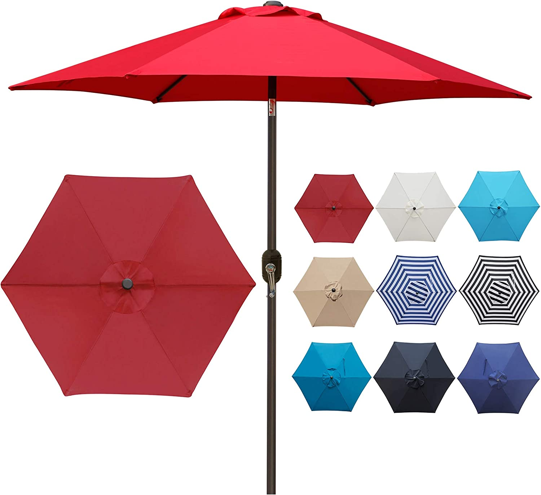 Blissun 7.5 ft Patio Umbrella, Yard Umbrella with Push Button Tilt and Crank(Red)