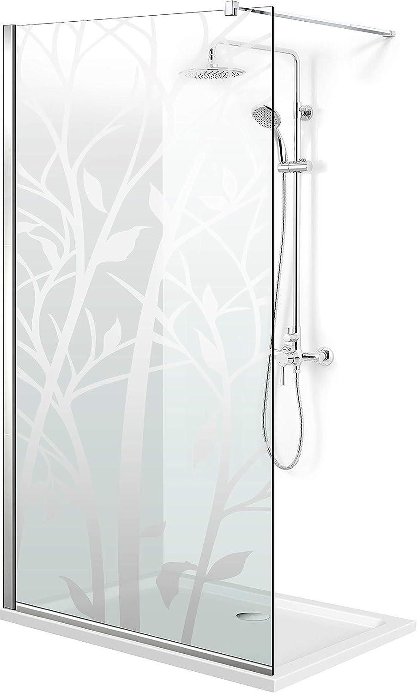 Modern Leroy Timeless - Mampara de ducha (madera de 8 mm, cristal templado de seguridad transparente, nano revestido, acero inoxidable SS304), transparente: Amazon.es: Bricolaje y herramientas