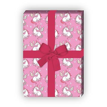 Mädchen Geschenkpapier Mit Geflügeltem Einhorn Für Tolle