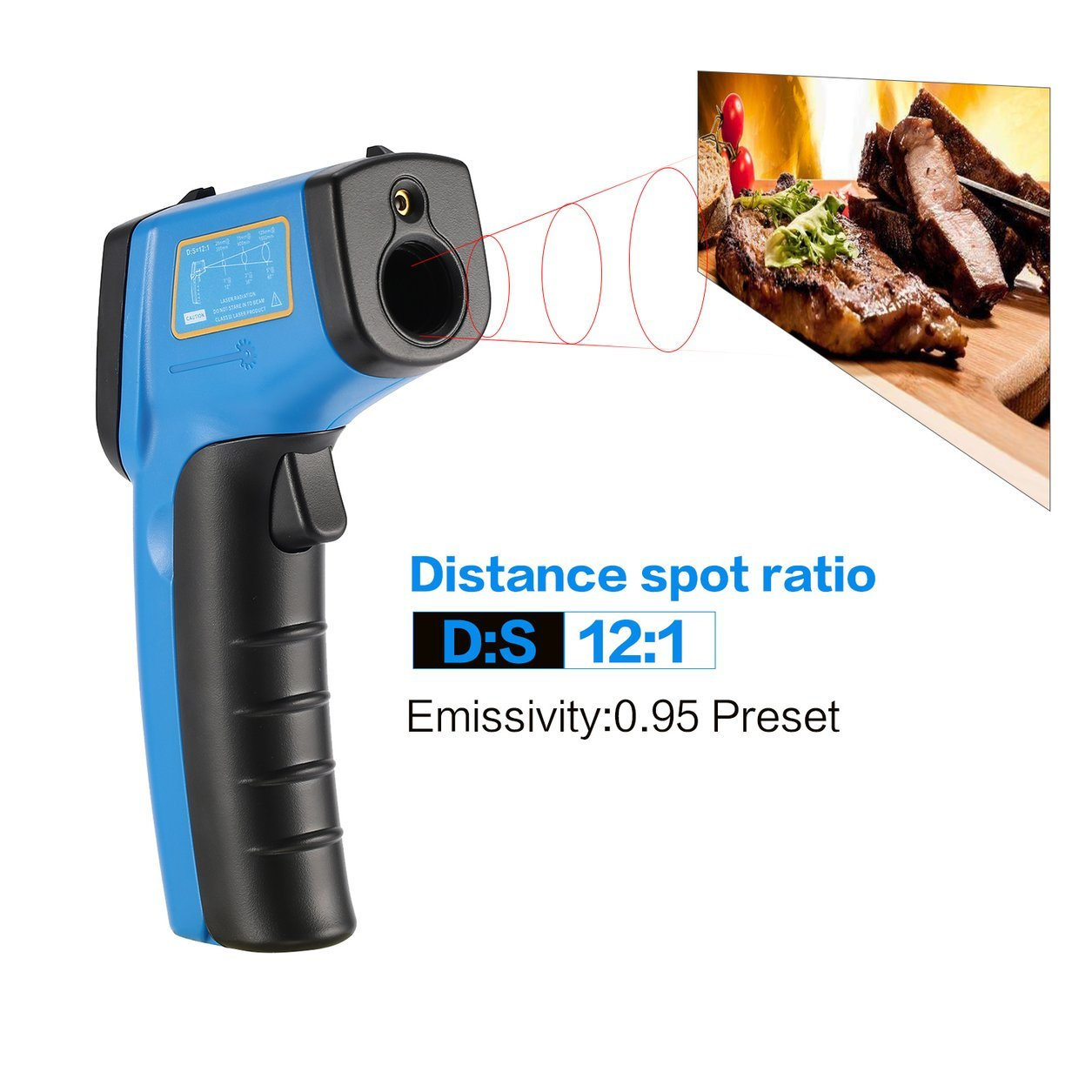 Dailyinshop BENETECH Digital GM321 Termometro a infrarossi senza contatto Termometro a infrarossi Temperatura Pirometro IR Laser Point Gun -50~400 ℃ (Colore: blu)