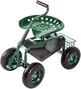 KINTNESS Garden Cart Rolling Scooter with Extendable Handle Work Seat Wagon Stool Swivel Seat & Utility Basket for Gardening Planting