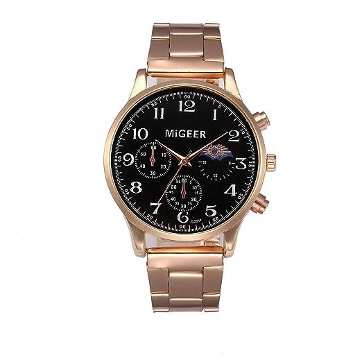 SKY MIGEER Moda hombres cristal de acero inoxidable analógico cuarzo pulsera reloj Stainless Steel Analog Quartz