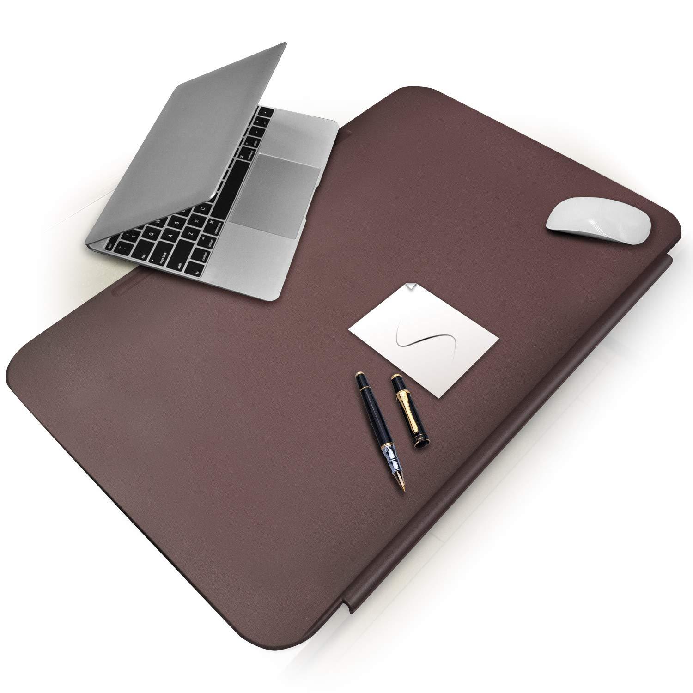 CENNBIE Desk Mat Blotters 26 x 16, TPU Desk Pads with Fixation Lip,Comfortable Desktop Protector Mat (Brown) MPL9040-004