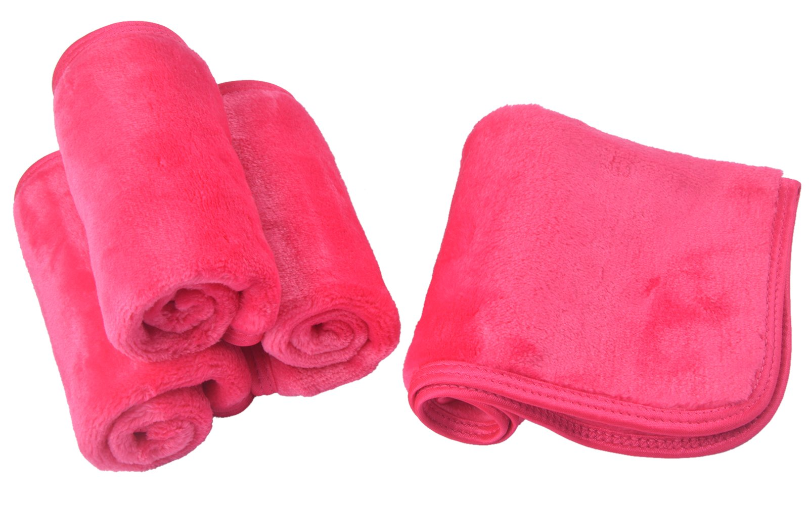 Sinland Microfiber Makeup Remover Cloth Face Cloths Facial Cleaning Towels Fast Drying Washcloth 400 gsm 9.8Inchx9.8Inch 4 Pack Dark Pink by Sinland (Image #9)