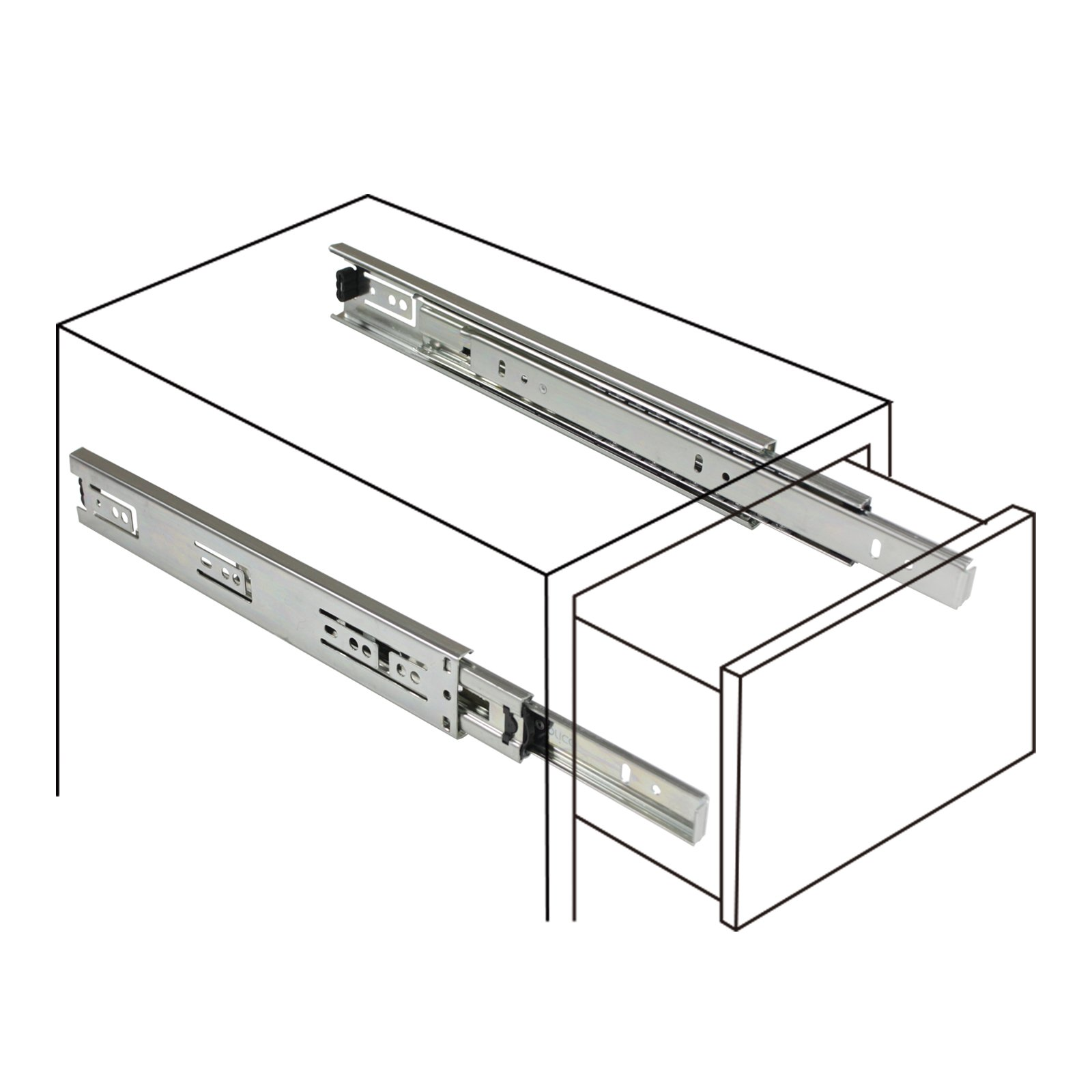 2 Pairs 22 inch Full Extension Side Mount Drawer Slides 3-Folds Ball Bearing Heavy Duty 100 lb Thickness:1.01.01.2mm by Probrico (Image #2)