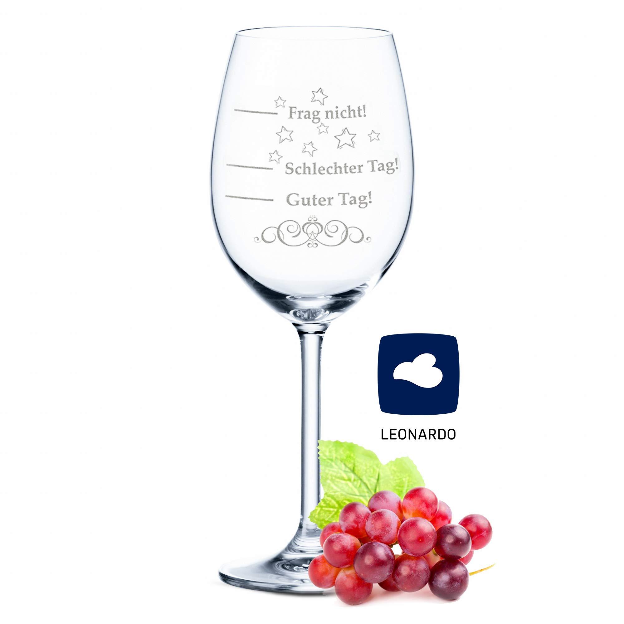 Leonardo XL Weinglas mit Gravur - Schlechter Tag, Guter Tag, Frag nicht! - Lustige Geschenke - Originelles Geburtstagsgeschenk - Geeignet als Rotweingläser Weißweingläser Bild
