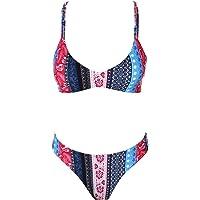 stripsky Strappy Cross Back Bikini Set, Sporty Padded Solid/Floral Print Brazilian Swimsuit for Women