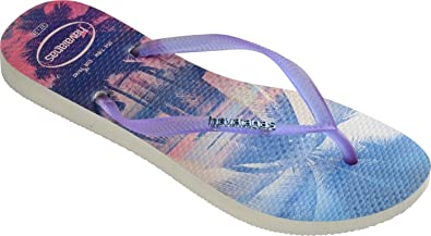 a1631968b9d0 Havaianas Slim Paisage Beach Print Thong Flip Flops White Purple - UK 8 - BR