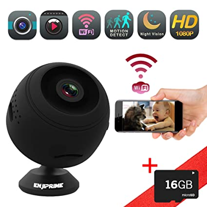 Wireless Mini Nanny Wifi Camera - EyeBall 1080 Full HD Video & Night Vision Home and