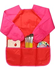 NEWSTYLE Children's Art Smock - Long Sleeve Waterproof Kids Painting Apron for School Classroom and Kitchen (Red)