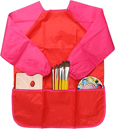 CHILDRENS RED LONG SLEEVE ART /& CRAFT APRONS WATERPROOF SMOCKS PAINTING COOKING