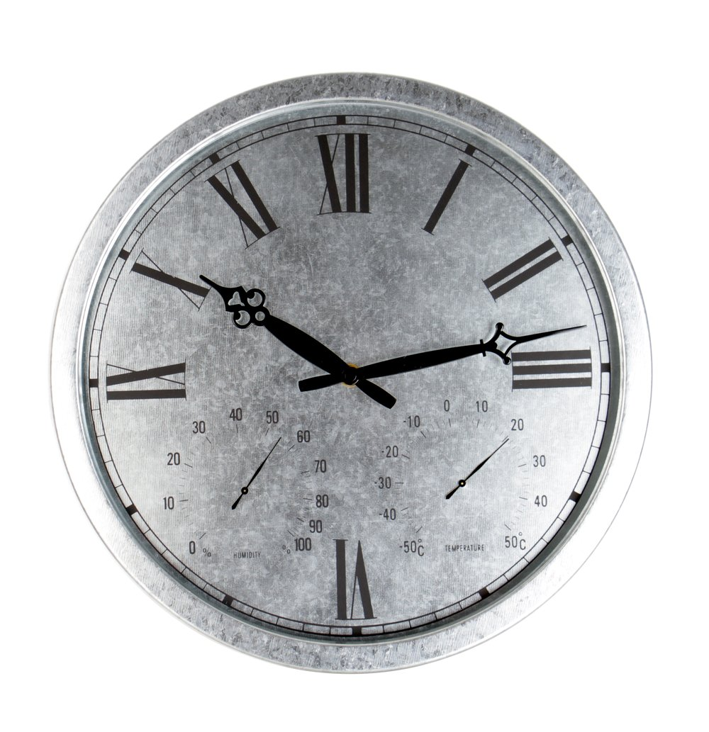 Galvanised Outdoor Garden Clock - 35cm (13.8'')