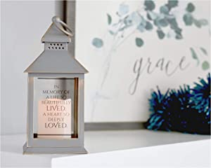 in Memory of a Life So Beautifully Lived Lantern Sympathy Gift with Message and LED Candle for Funeral Memorial Comfort The Grieving for Loss of Loved One Express Condolences