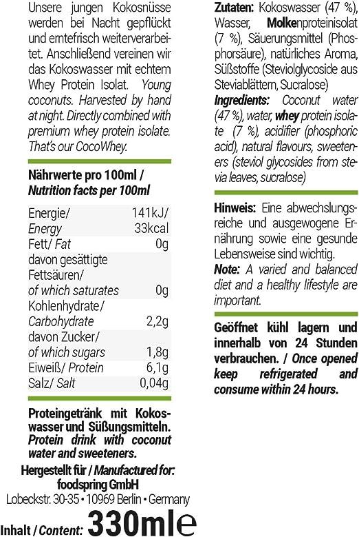 foodspring CocoWhey en pack de 12 x 330ml, Coco, La bebida ...