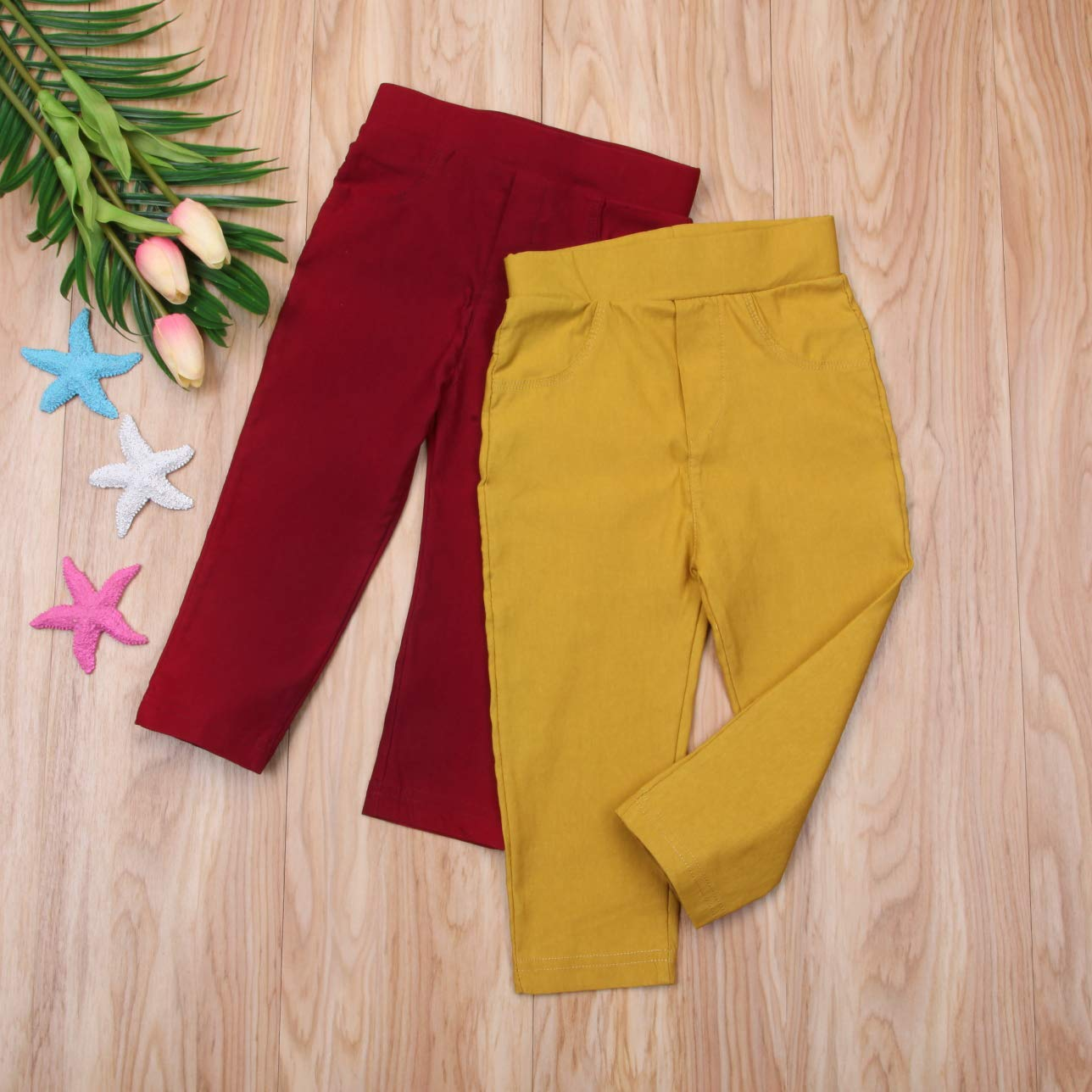 ITFABS Kids Baby Boy Girls Pants Clothes Solid Long Pants Trousers Leggings Elastic Casual Capris Bottom Outfit