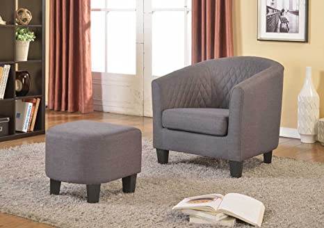 Miraculous Us Pride Furniture Isabella Fabric Accent Chair And Ottoman Gray Creativecarmelina Interior Chair Design Creativecarmelinacom