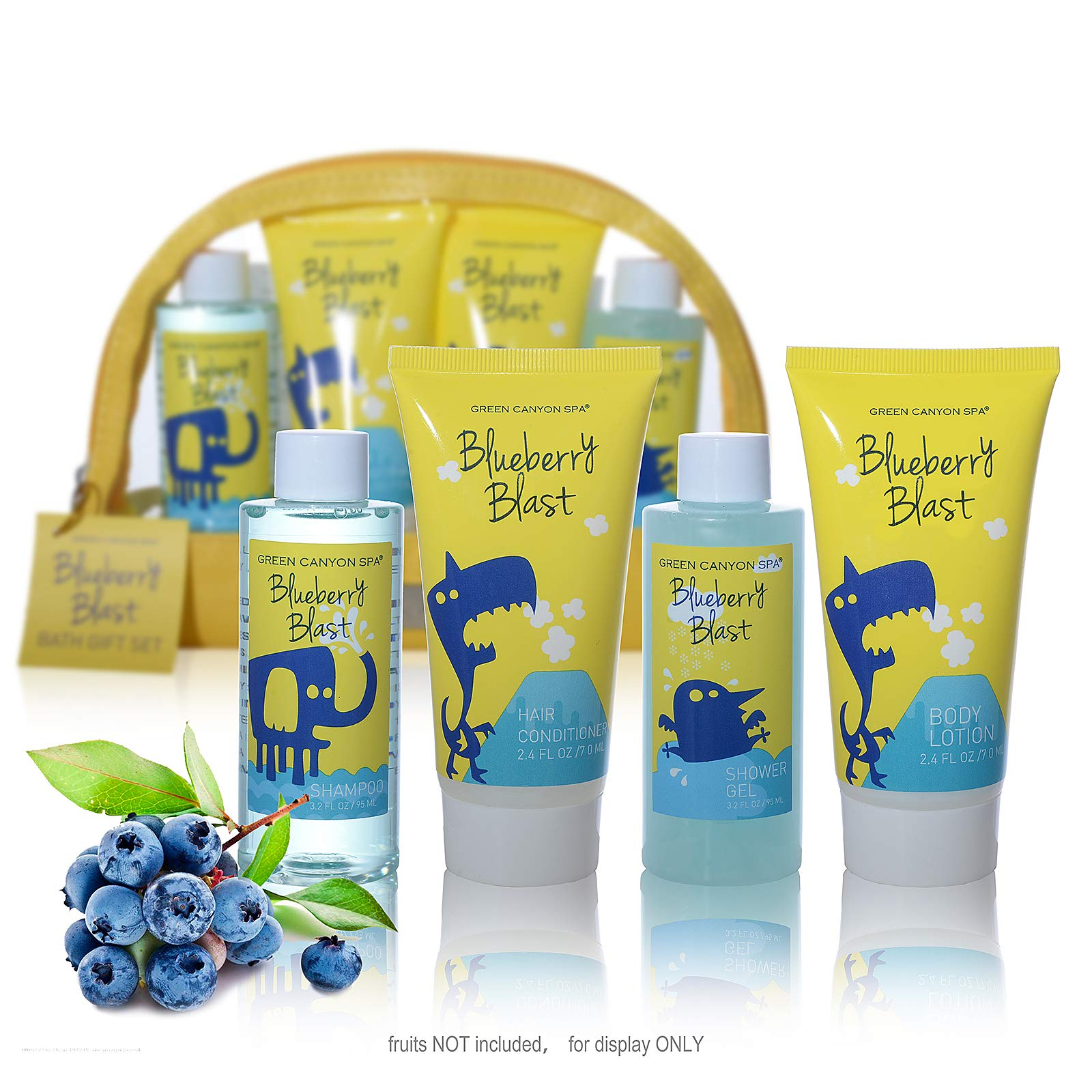 Premium TSA Approved Bath and Body Travel Set for Kids / Youth in Blueberry Blast – Lush Body Lotion, Shower Gel, Shampoo and Conditioner in PVC Bag – perfect travel kit in Convenience